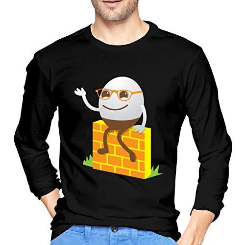 VIIHAHN Humpty Dumpty Man Basic Walk Long Sleeve Round Neck T Shirts Tops Black ()