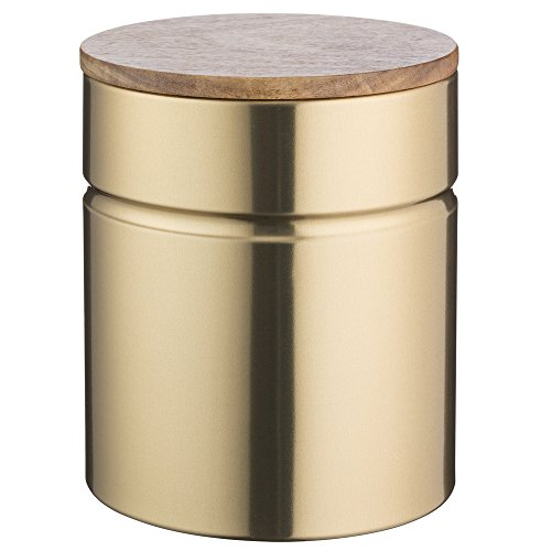 Typhoon Modern Kitchen Medium Storage, 2-1/4 Quart Gold Metallic Canister With Acacia Wood Lid, Airtight Seal Keeps Flour, Cereal and Rice Fresh -
