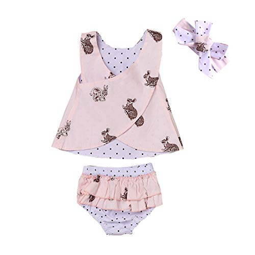 (Baby Girls Easter Outfit Pink Rabbits Reversible Rompers Ruffle Pants Headband (18-24M))