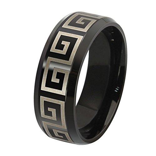 Titanium Greek Key Ring - 5