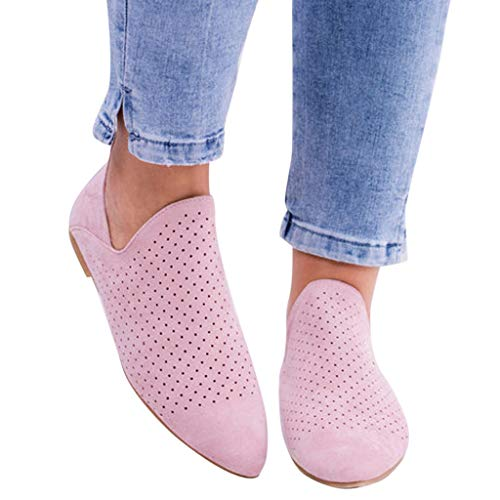 (Women's Casual Slip On Loafer Pointed Toe Hollow Out Office Casual Dressy Flat Ankle Boot (Pink,)
