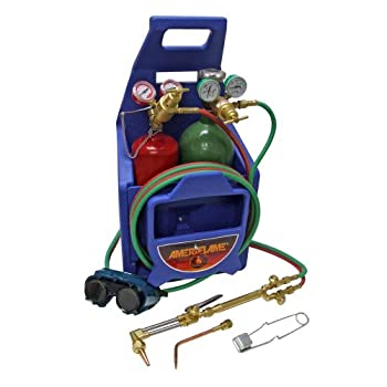 Image of Brazing Kits Ameriflame TI350T Medium/Heavy Duty Portable Welding/Cutting/Brazing Outfit with Plastic Carrying Stand Plus Oxygen and Acetylene Tanks