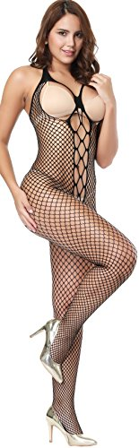 The Victory of Cupid Womens Sexy Fishnet Floral Crotchless Bodysuits Suspender Bodystocking, Black, One Size Crotchless Bodystocking