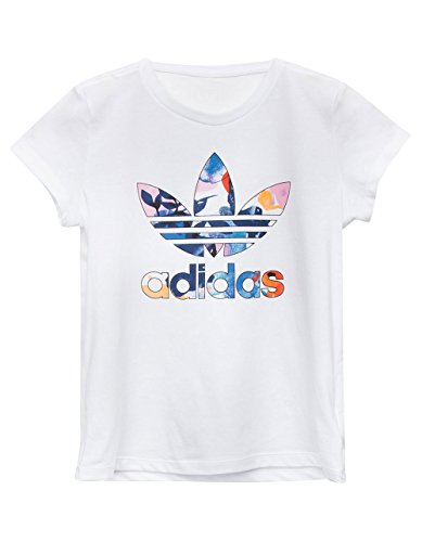 adidas Originals Big Girls' Short Sleeve Trefoil Tee, White/Eqt Watercolor Multi, XS