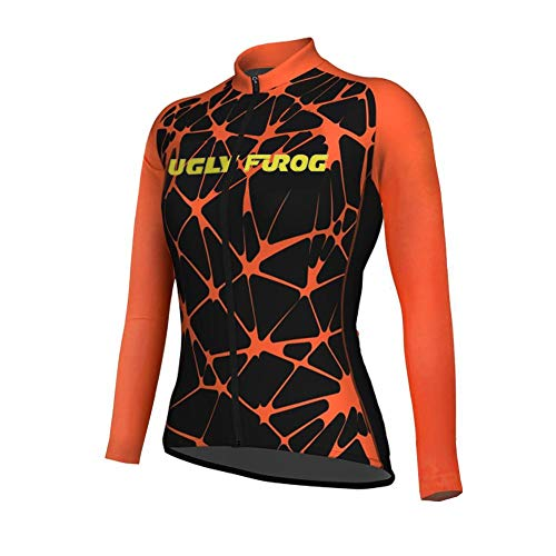 Uglyfrog Long Sleeve Cycling Jersey Women with 3 Pockets,Breathable Quick Dry Bike Jersey,High Elastic Anti Wrinkle Breathable Reflective Road Mountain Bike Shirts (Team Gb-triathlon)