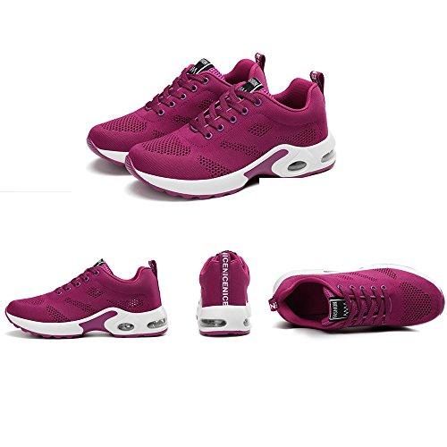 Donne Cuscino Daria Scarpe Da Corsa Sneakers Trail Trainer Leggero Rosso Nero Rosa Viola 35-40 Viola