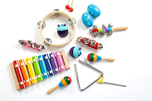 Musical Instruments Set with Xylophone for Toddlers - 15pcs wooden percussion set for Kids - Preschool Montessori Learning Toys- Improve Development through Interactive Play FREE ebook and backpack