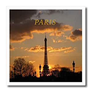 ht_123225_3 Florene France - A Paris Sunset With The Eiffel Tower - Iron on Heat Transfers - 10x10 Iron on Heat Transfer for White Material