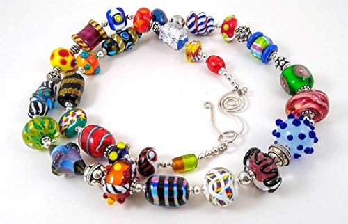 Colorful Multicolored Artisan Lampwork Glass Chunky Beaded Statement Necklace