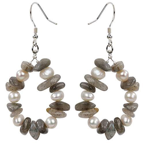 YACQ Teardrop of Mermaid 925 Sterling Silver Natural Gemstone Pearl Grey Dangle Earrings Birthstone Druzy Raw Stone Geode Hoop Tumbled Drop Jewelry Women Teen Girl (Labradorite)
