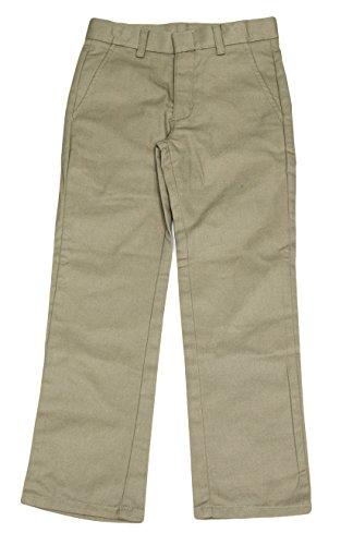 Nautica Big Boys Flat Front Uniform Double-Knee Dress Pant (Khaki, 16 Husky)