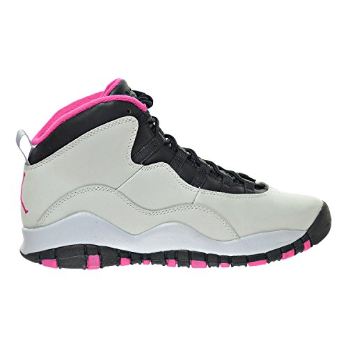 Jordan Air 10 Retro (GS) Girl's Shoes Pure Platinum/Vivid Pink/Black 487211-008 (5.5 M US) by Jordan