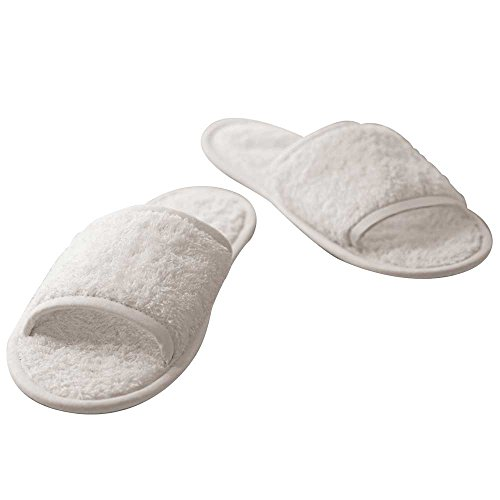 Towel City Classic Colours Terry Unisex Adults Slippers (Open Toe) White,Navy White