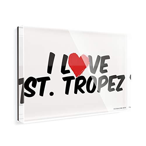 Acrylic Fridge Magnet I Love St. Tropez NEONBLOND
