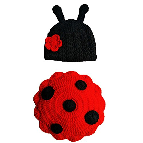 Newborn Baby Photo Photography Props Cute Insects Knit Crochet Clothes Costume (Red) -