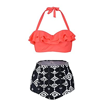 Happybai High Waisted Swimsuit Womens Cute Ruffle Push Up Bikini Bathing Suit