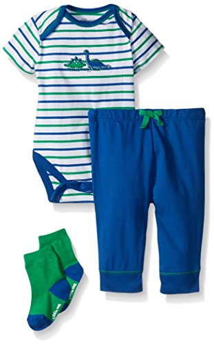 Little Me Baby Boys 3 Piece Short Sleeve Bodysuit with Knit Pant and Socks