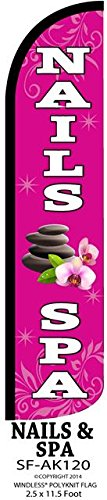 (Nails & Spa Windless Swooper Feather Banner Flag Sign)