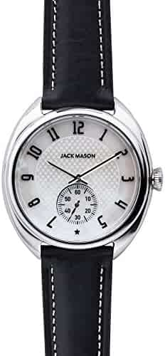 Jack Mason Women's Watch Issue No 1 SS Sub Second MOP Dial Black Leather Strap