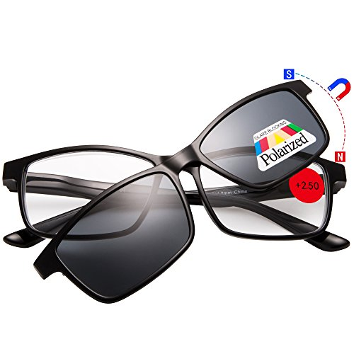 EYEGUARD Reading Glasses With A Magnetic Sunglasses Clip on Polarized Lens - 2 Sunglasses In 1