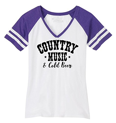 Beer Womens V-neck T-shirt - Ladies Game V-Neck Tee Country Music and Cold Beer White/Heathered Purple M