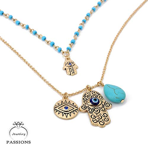 Vintage Bohemia Double Layer Bead Necklace Chain Turkey Blue Evil Eye With Hamsa Hand Fatima Palm Necklace For Women ()