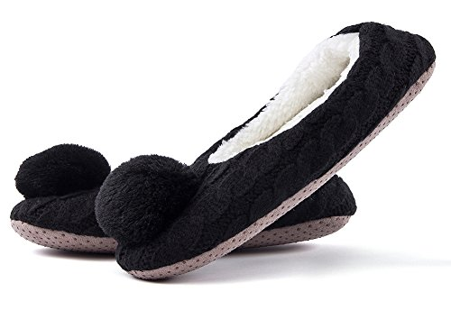 Ladies Knit Animal Black3 House Cute Womens Christmas Slippers Fuzzy Winter Bedroom MaaMgic Indoor Slippers xHnwvYqtn