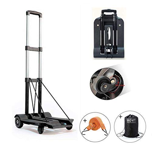 Four Wheel Carts - Folding Hand Truck, 75 Kg/165 lbs Heavy Duty Solid Construction Utility Cart Compact and Lightweight for Luggage, Personal, Travel, Auto, Moving and Office Use - Portable Fold Up Dolly(4 Wheel-roate)