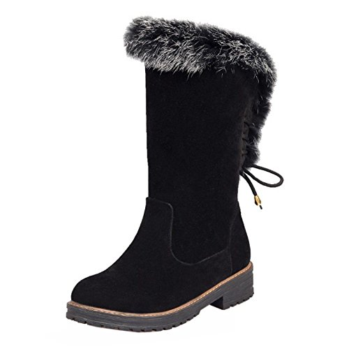 Up Boots Winter COOLCEPT Women Black Fashion Lace wtfBEBXxqZ