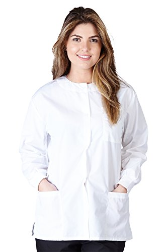 Natural Uniforms Women's Warm Up Jacket (White) (X-Large) (Plus Sizes Available) -
