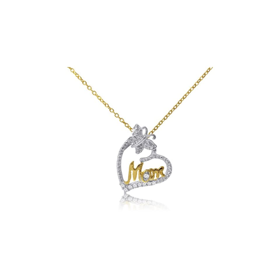 14 Karat Yellow Gold over Sterling Silver Two Tone Effect Diamond Mom Pendant with 18 Chain