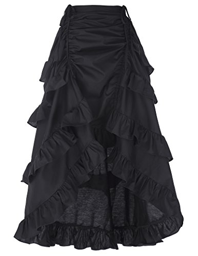 Women Black Steampunk Victorian Pirate Skirt Bustle Style BP222-1 M Black
