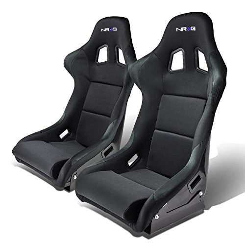 - NRG FRP-310 Pair of Fiber Glass Bucket Style Racing Seat w/Adjustable Mounting Bracket (Black)