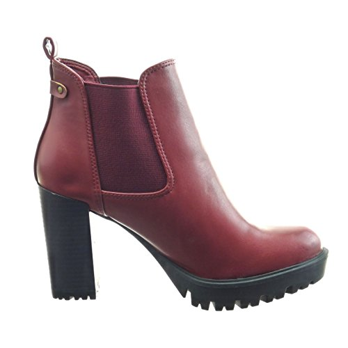 Sopily - Scarpe da Moda Stivaletti - Scarponcini chelsea boots zeppe alla caviglia donna Tacco a blocco tacco alto 9 CM - Rosso