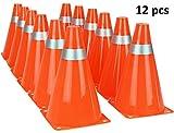 Kiddie Play 7' Orange Traffic Cones for Sport Training Soccer Cones (12 Pack)