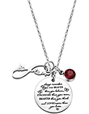 Fullrainbow You are Braver Than You Believe Stainless Steel Birthstone Necklace Gift for Girls