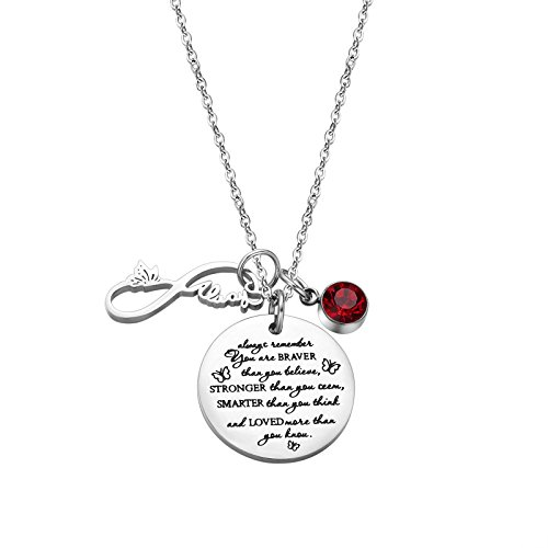 (Fullrainbow You are Braver Than You Believe Stainless Steel January Birthstone Necklace Gift for)
