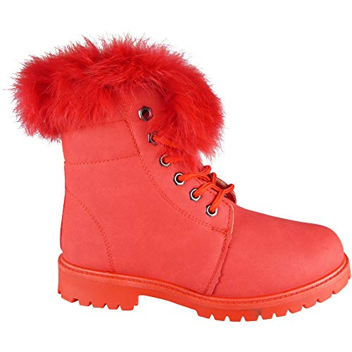 Loud Lace Flat 3 Trainers Look Faux Sneakers Shoes Size Boots Ankle 8 New Womens Fur Red Up Lining r4zwr