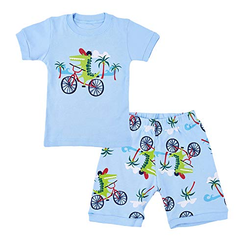 Little Boys Pajamas Shorts Set for Toddler Summer Clothes Trian Dinosaur Sleepwear Cotton 2 Piece Kids Pjs Size 1-8 Years (6-7 Years/7T, Dinosaur Blue) ()