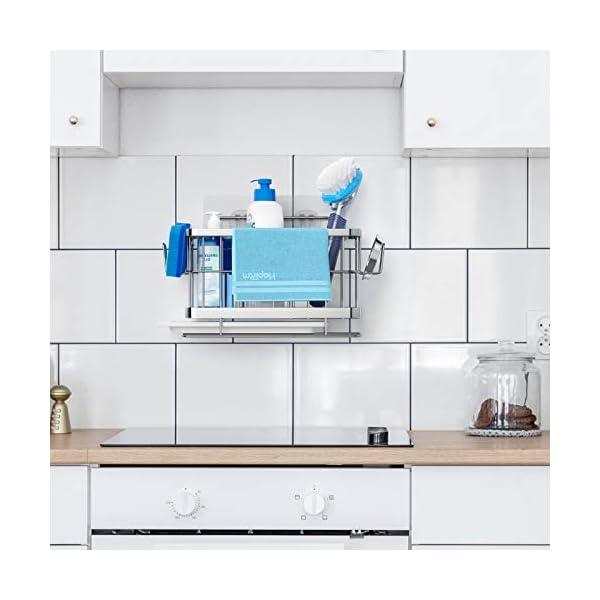 41S26hoSU5L HapiRm Spülbecken Organizer Küchenorganizer, Spülutensilienhalter Schwammhalter 304 Edelstahl, Spüllappenhalter…
