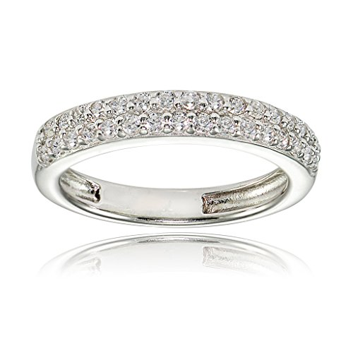 Sterling Silver Cubic Zirconia 2-row Round-cut Eternity Band Ring