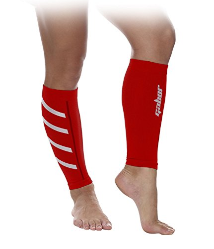 Gabor Fitness Graduated 20-25mm Hg Compression Running Leg Sleeves, Small, Red