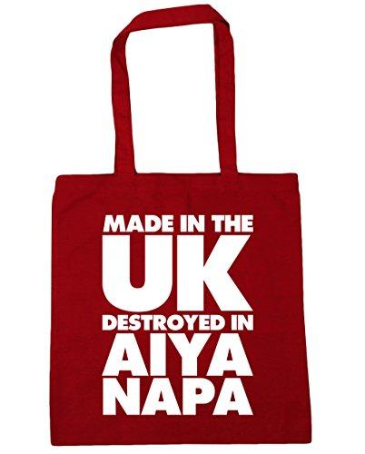 HippoWarehouse fabricado en el Reino Unido destruido en Aiya Napa bolsa de la compra bolsa de playa 42cm x38cm, 10litros Classic Red