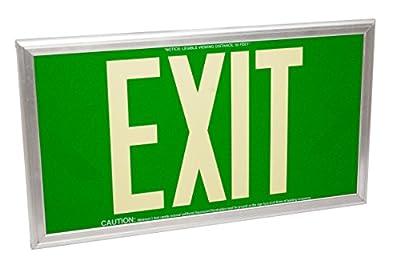 Fulham FLPL50SGS Photoluminescent Exit Sign, Green