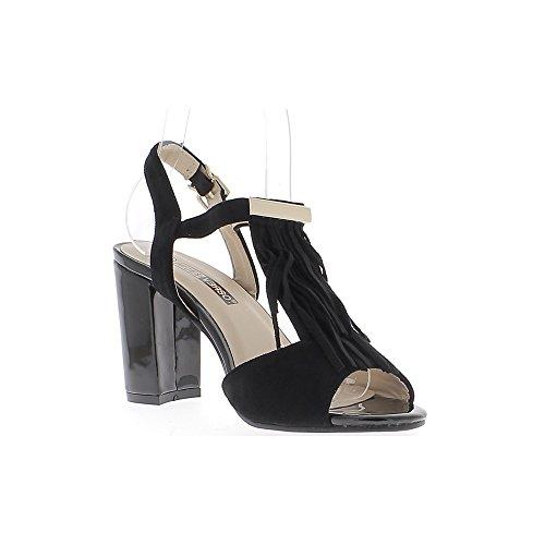 Verniciato neri sandali e pelle scamosciata con tacco di spessore 10cm