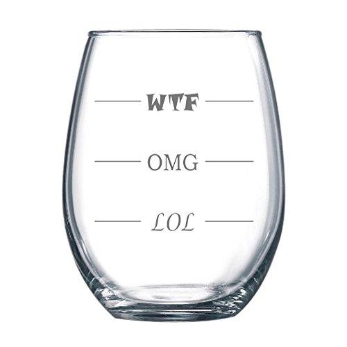Fineware LOL-OMG-WTF 15 oz Stemless Funny Wine Glass - Final