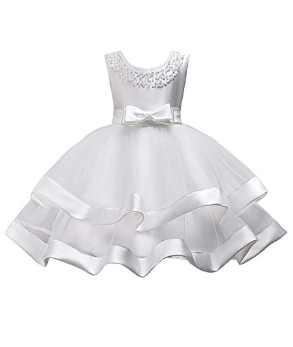 Little Flower Tulle Satin Girls Dresses for Weddings Princess Tulle Ball Gown Tutu Sleeveless Summer Playwear Clothing First Communions Dress Casual Bow Pearl O Neck Size 3 4 Tank (White, 120)