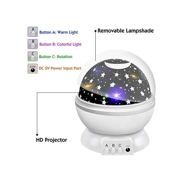 41S28SG3gjL 【Romántico y hermoso】 Este proyector para bebés puede ayudarlo a llevar el universo a su hogar. Te muestra el cielo estrellado en la pared o el techo de la habitación. Hay muchos modelos al respecto. Además, es rico en color. Rodeado de estrellas, crea un ambiente cálido y romántico. 【Diseñado para niños】 Con material ABS, sin olores desagradables, sin ruido, fuerte resistencia al impacto. Los chips LED regulables IC de alta calidad se pueden utilizar durante más de un año. Ahorran energía, tienen una vida útil prolongada y generan luz saludable y sin radiación. 【Luces de ensueño】 Hay diferentes modos de iluminación. Modo A: modo de luz nocturna cálida. Modo B: alternancia de luces de colores (blanco cálido / azul / verde / rojo). Modo C: las luces de estrella se pueden girar 360 °. Simplemente cambie entre modos para disfrutar del hermoso cielo estrellado y brindarle una experiencia fantástica.
