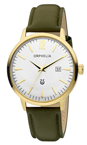 ORPHELIA Men's Analogue Zoom Green Leather-61603