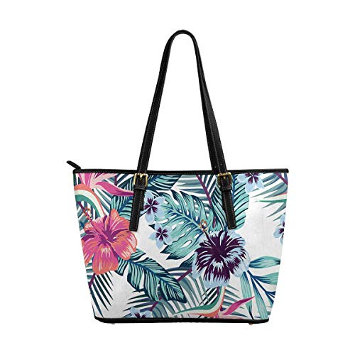 InterestPrint Flowers of Bird of Paradise Custom PU Leather Totes Top Handle Casual Shoulder Bags